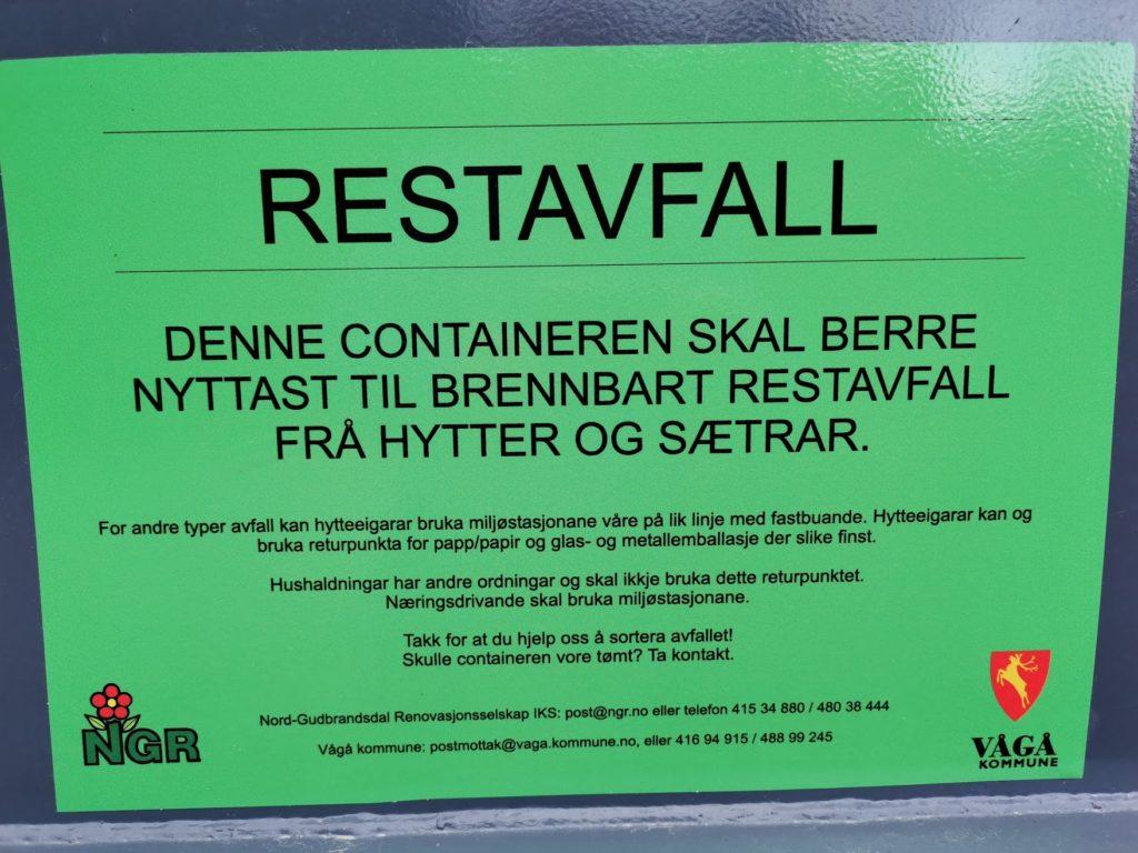 SN Hytteservice kan levere avfall frå hytta di.